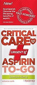 UrgentRx Critical Care Aspirin to Go Powder, Lemon-Lime 12 Count
