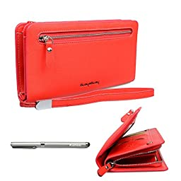 Katloo Women\'s Leather Matte Cross Pattern Clutch Wallet Wristlet Handbag Organizer w/ Detachable Hand Strap Fit iPhone 6 6S Plus , Samsung Galaxy Note 5 4 Edge S6 Edge Plus + Stylus Pen (Red)