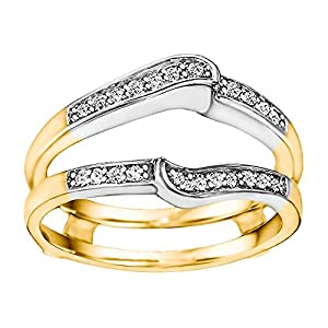 0.22CT Diamonds Gorgeous Knott Designed Ring Guard Enhancer set in Two Tone Sterling Silver (0.22CT TWT Diamonds G-H I1-I2)
