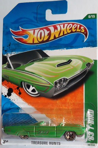 2011 Hot Wheels '63 T-Bird (1963 Ford Thunderbird convertible) T-Hunt 6 of 15 #56 Green regular treasure hunt - 1