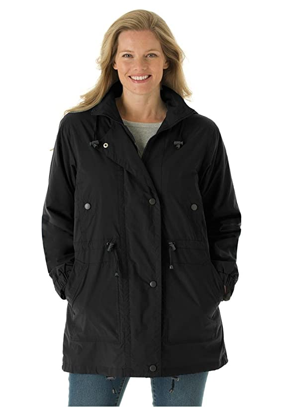Woman Within Women's Plus Size Jacket Anorak In Weather-Resistant Taslon