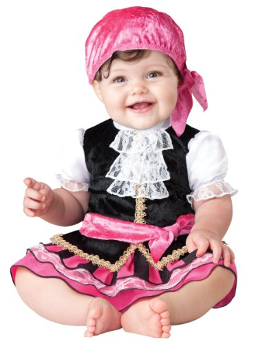 InCharacter Baby Girl's Pretty Little Pirate Costume, Pink/Black, Medium
