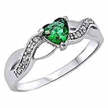 buy Pakuna: Heart-Cut Simulated Emerald And Iof Cz Crossover Infinity Promise Ring Silver, 3224A Sz 8.0