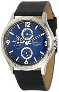Armitron Men's 20/4858BLSVBL Stainless Steel and Black Leather Watch