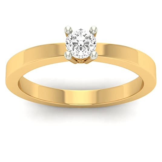 18K Yellow Gold 0.19cttw Round-Cut-Diamond (F-G Color, VVS Clarity) Diamond Ring