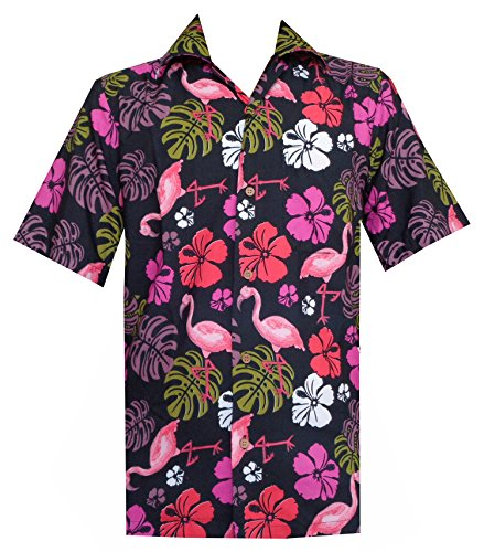 c2c2f0eac Hawaiian Shirts Mens Flamingo Leaf Print Beach Aloha Party - Import ...