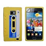 """Stilvoll Gelb Blau Und Wei� Retro Kassette Cassette Tape Muster Silikon Schutzh�lle F�r Samsung Galaxy S2 i9100 Mit Displayschutzvon """"Yousave"""""""