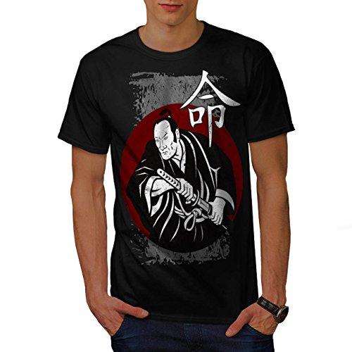 heftig-samurai-schau-kimono-mann-herren-neu-schwarz-m-t-shirt-wellcoda