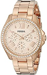 Fossil Women's AM4483 Cecile Rose Gold-Tone Watch with Crystals
