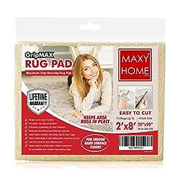 Non Slip Rug Pad || GripMax Premium Anti Slip Rug Pad for under Area Rugs Carpets Runners Doormats on Wood Hardwood Floors 2x4 2x8 3x5 4x6 5x8 6x9 8x12 - || 2x8 ||