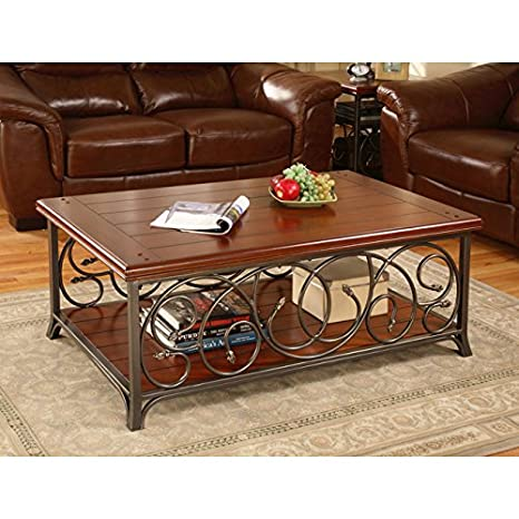Metro Shop Scrolled Metal and Wood Coffee Table
