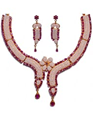 Natural Pearl & Ruby Stone Studded Necklace & Earring Set