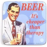 """Retro Coaster with """"Beer - It's Cheaper Than Therapy"""" Expression [German Language]"""