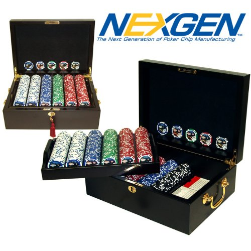 Trademark 500 11.5g Jackpot Casino Clay Chips with  Mahogany Case Poker Chip Set, Brown