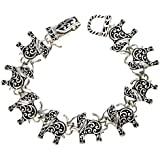 Silvertone Ornate Elephant Magnetic Closure Bracelet