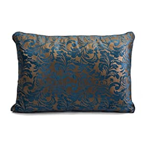 Amazoncom 16quot elegant baroque peacock blue and gold for Blue and gold pillows