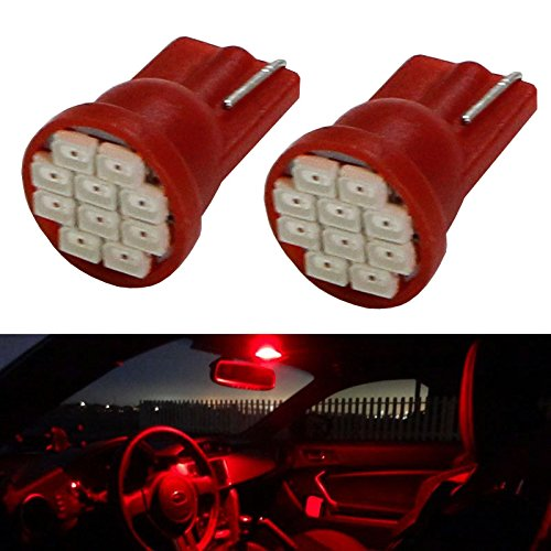 Ijdmtoy (2) Brilliant Red 10-Smd-3020 168 175 194 2825 W5W T10 Led Replacement Bulbs For Car Interior Lights, Map Lights, Dome Lights, Foot Area Lights, Trunk Area Lights, Etc