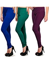 Green Blue Purple Pack Of 3 Cotton Lycra Leggings