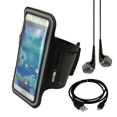 Black Sports Armband For Nokia Lumia 1020 920 Samsung Galaxy S4 I9500 S3 I9300 Lg Nexus 5 + Vangoddy Headphone With Mic, Black + Black Usb Sync Cable