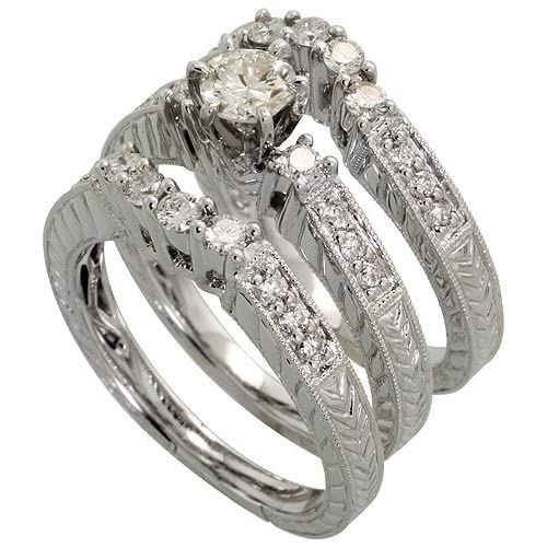 14k White Gold 2 Piece Wedding Ring Set W 0 26 Carat Center 0 25 Carat Sides Brilliant Cut Diamonds Size 6 5