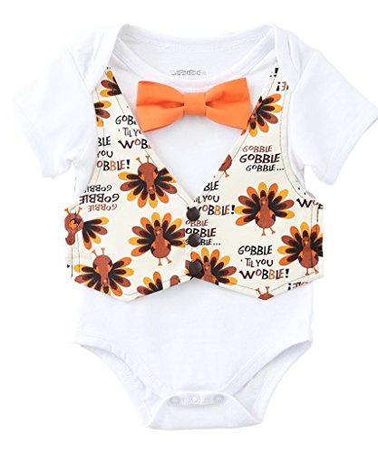 Noah's Boytique Baby Boys Thanksgiving Outfit Vest Bow Tie Gobble til You Wobble 12-18 Months (Thanksgiving Outfit For Baby Boy)