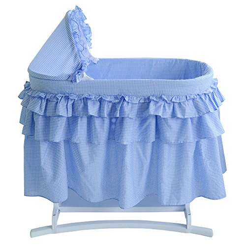 Lamont Limited Bassinet with Full Gingham Skirt, Blue