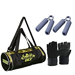 BLT PASSION Duffel Bag With 1 Pair Exercise Gloves & 1 Pair Power Grips Gym & Fitness Kit
