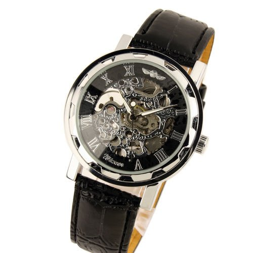 New Men's Black Dial Leather Band Strap Luxury Stainless Case Hand-Wind Up Mechanical Wrist Watch