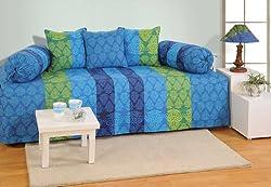 Swayam Diwan-e-Khaas Cotton 6 Piece Diwan Set - Blue (DWN16-1302)