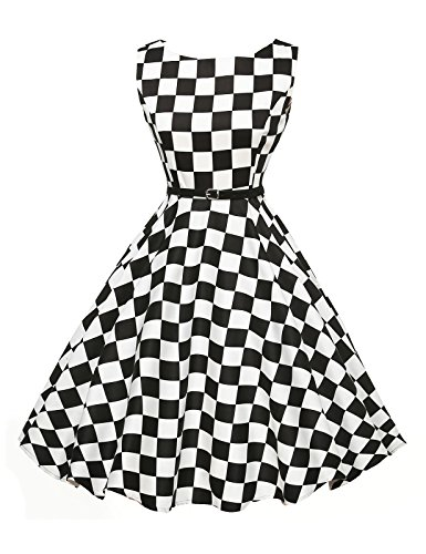 Hepburn Style Plaid Swing Dresses for Teens with Belt Size L VL6086-10