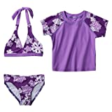 Girls' Swimwear Xhilaration Purple 3 pc Bikini Set