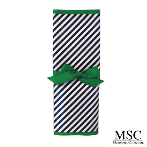 Mainstreet Collection Navy and Green Striped Reversible Coated Canvas Chalkboard Travel Mat