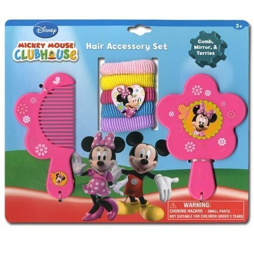 Minnie Mouse Comb, Mirror & Hair Ponies Set