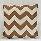 "Vintage Linen Cotton Chevron Zig Zag Pattern Home Decorative Throw Pillow Case Cushion Cover Multiple Colors (18""x18""(45x45cm), Brown)"