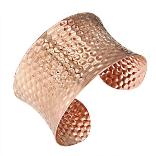 Bling Jewelry Wide Cuff Hammered Rose Gold Stainless Bangle Bracelet