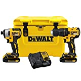DEWALT 2-Tool 20-Volt Lithium Ion Brushless Cordless Combo Kit with Cooler (Color: Yellow)