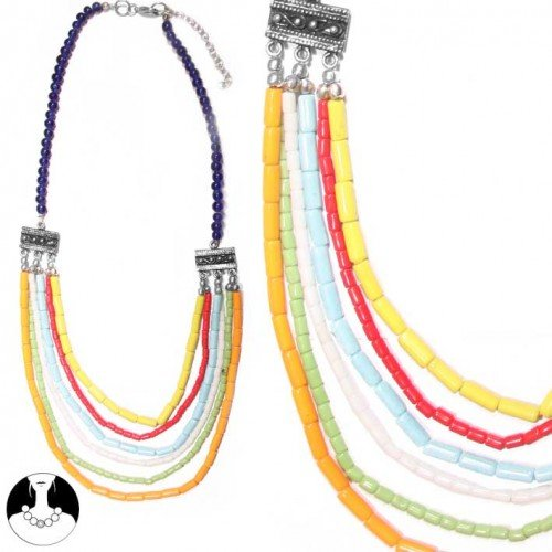 SG PARIS NECKLACE 6 ROWS 50 CM+EXT MULTICOLOR MULTICOULEUR NECKLACE NECKLACE GLASS SUMMER WOMEN BOLLYWOOD FASHION JEWELRY / HAIR ACCESSORIES Z OTHERS