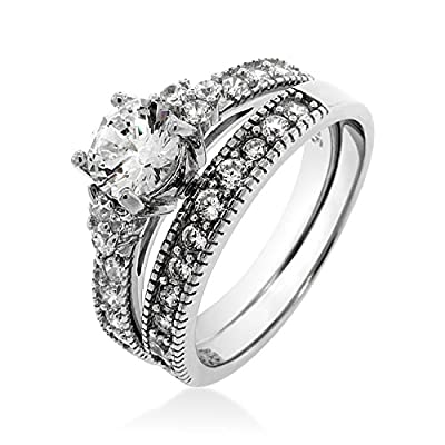 Ladies Silver Cubic Zirconia Solitaire Brilliant Cut Engagement Ring Wedding Set