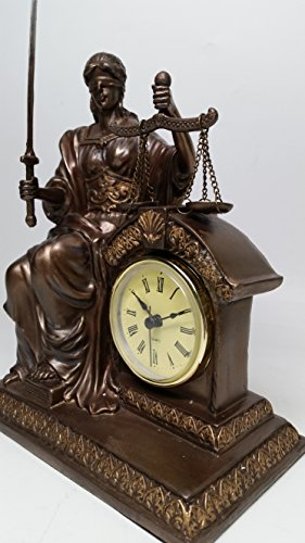 Seated Law Justice on the Throne Desk Clock Lady La Justica Statue - Museum Reproduction Collection