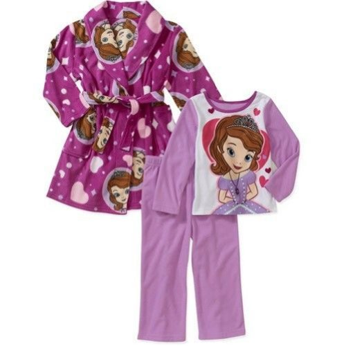 Disney Disney Princess Sofia The First 3 PC Bath Robe Pajama Set Toddler Size 5T