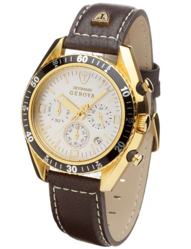 Detomaso Gents Watch Genova Chronograph Gold-Plated/White SL1592C-CH-G