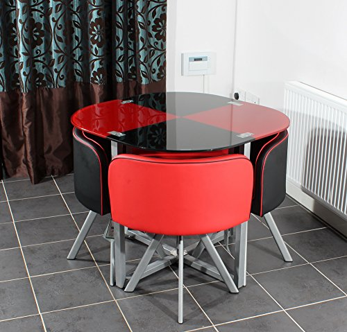 Charles jacobs space saver dining table with four chair for Red dining room table and chairs