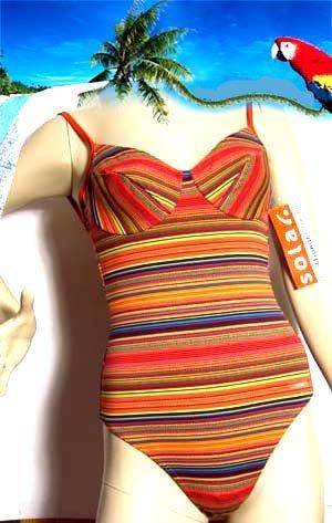 SOLAR Badeanzug orange-gestr.Gr. 38 Bügel-C NEU