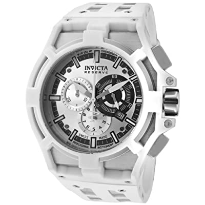 Invicta Men's 0632 Akula Reserve Chronograph Silver Dial White Polyurethane Watch