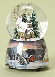 "5″ Musical ""The First Noel"" Church Winter Scene Christmas Snow Globe Glitterdome"