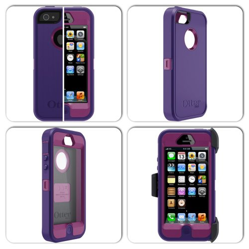 Great Sale Otterbox Defender Series Rugged Protection for iPhone 5 Case with Belt Clip - Retail Packaging - Boom (Pop Purple/Violet Purple)