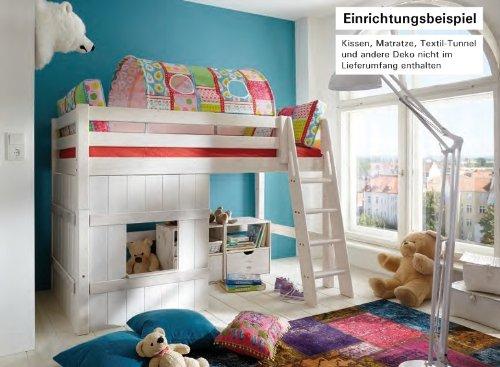 Hochbett Bett Kinderbett Mittelhoch Spielecke Kinderzimmer Kiefer massiv, Farbe:laugenfarbig jetzt kaufen