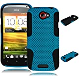 Bastex Heavy Duty Hybrid Case for HTC One S Z520e - Black Silicone / Sky Blue Hard Mesh Shell