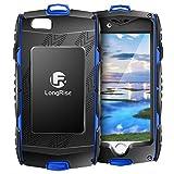 LongRise(ロング ライズ) iPhone6 6s ケース 耐衝撃 防塵 軽量、アウトドア スポーツに最適な アイフォン6s 6用 ケースカラビナ付き (ブルー)