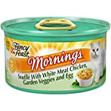 Fancy Feast Wet Cat Food, Mornings Soufflé, with White Meat Chicken, Garden Veggies and Egg, 3-Ounce Can, Pack of 24